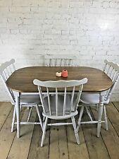 TABLE AND 4 DINING CHAIRS PAINTED LIGHT WHITE GREY SHABBY CHIC