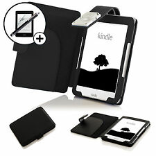 Leather Black Case Cover with LED Light Amazon Kindle 2016 Screen Prot Stylus