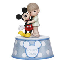 """♫ PRECIOUS MOMENTS DISNEY Musical Figurine MICKEY MOUSE """"U ARE LOVED"""" MUSIC BOX"""