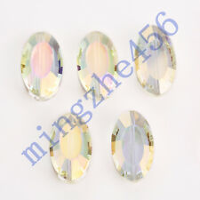10pcs 22x13mm Lt Citrine Glass Crystal 2Layer Flat Oval Beads  Spacer Findings