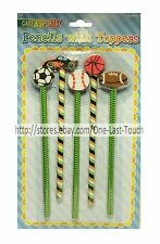 MOMENTUM BRANDS* 5pc CARS & SPORTS Pencils With Toppers SCHOOL Football+More