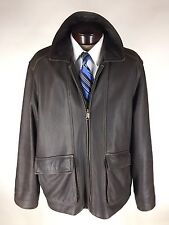 Columbia Leather Jacket XL / TG Bomber Dark Brown Insulated Soft Heavy Coat