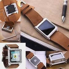 Leather Aluminum Watch Band Wrist Strap Bracelet Case for Apple iPod Nano 6 6th