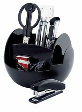 Pavo Rotating Desk Organiser with 9 Stationery Accessory Set Black