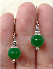 Handmade Natural Green Jade Round Gemstone Sterling Silver Earrings Leverback