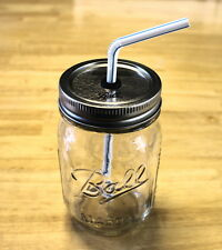 16oz-Pint Ball Regular Mouth Mason Jar with Modified Lid for Straw