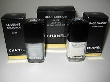 CHANEL Le Vernis Nail Polish DUO PLATINUM SILVER with Fixing Base