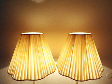 """LAMPSHADES A PAIR VINTAGE LARGE 14""""Hx18""""wx8""""w(TOP) NYLON STRIPPED SCALLOP SHADES"""