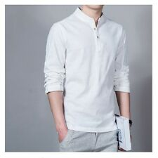 Chinese Style Men's Flax Linen T-Shirt Casual V-Neck Long Sleeve Shirt Tops Tees