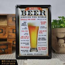 HOW TO ORDER A BEER AROUND THE WORLD Beer Poster Bar Pub Tavern Decor Metal Sign