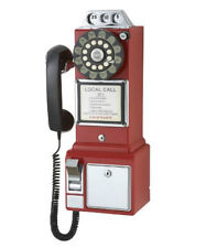 Antique Wall Phone For Kitchen Old Fashioned Retro Red Home Payphone Push Dial