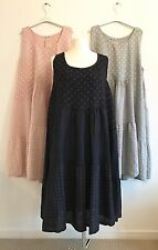 LAGENLOOK NEW ONE SIZE PLUS MADE IN ITALY LINEN DRESS GINGHAM SPOTS STRIPES NAVY