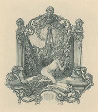 Erotisches Exlibris Franz von Bayros / Adyton Erotic Nude opus 2 Heliogravüre