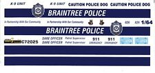 BRAINTREE, MA. Police Cruiser 1/64th HO Scale Slot Car Waterslide Decals