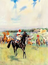 PAINTING SPORT RACEHORSE JOCKEY FLAT FIELD STAND CLOUDS UK POSTER PRINT LV2877