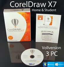Corel Draw X7 Home & Student 3 PC Vollversion Box + CD, Lernvideo Deutsch NEU
