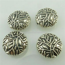 18605 15pcs Vintage Antique Silver Flat Tree Leaves 11mm Spacer Beads Filigree