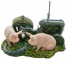 Grey Fergie in farmyard with pigs Tractor sculpture ornament farming gift