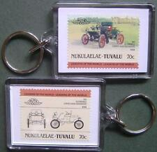 1901 Oldsmobile Curved Dash Buckboard Car Stamp Keyring (Auto 100 Automobile)