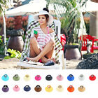 Ms. Summer Sun Beach Hat Foldable Roll Up Wide Brim Straw Lady Visor Hats Cap