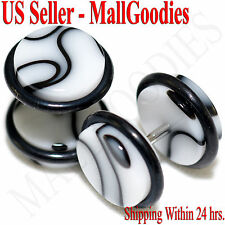 2016 White Marble Fake Cheater Illusion Faux Ear Plugs 16G Bar 00G = 10mm - 2pcs