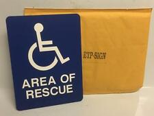 "Area of Rescue 8"" x 6"" Plastic Blue Self Adhesive ETP-Sign Wall Sign Handicap"