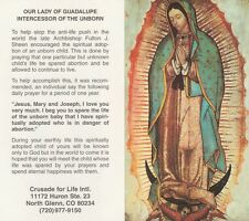 CATHOLIC HOLY CARD   OUR LADY OF GUADALUPE INTERCESSOR OF THE UNBORN