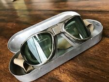 WWII B7 USAC FLIGHT GOGGLES & AMERICAN OPTICAL AO COFFIN CASE, AIR CORPS  AAF