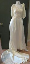 """Vtg 1980's Ivory Satin Wedding Gown Beaded Puff Sleeves Chest 34/ 35"""" Waist 26"""""""