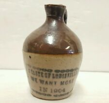 Rare 1904 Sample Jug A Taste of Louisville Kentucky KY Stoneware Bourbon Whiskey