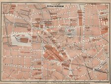 1910 BAEDEKER ANTIQUE MAP- UK-TOWN PLAN, BIRMINGHAM, CENTRE