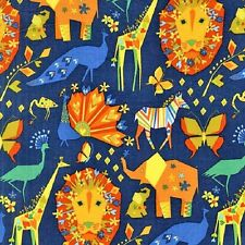 Fat Quarter Pride Safari Animals Quilting Cotton Fabric - Michael Miller
