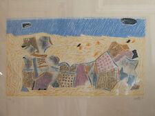 """"""" La plage """" . Superbe gravure signée Louttre b fils de Bissière . Tirage à 6 ex"""
