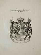 1847 Wappen Hohenlohe-Bartenstein-Jagstberg Kupfer von Tyroff Coat of Arms