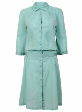 whistles pale turquoise green aqua shirt dress embroidered cotton 12 14 bnwt