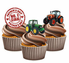 Fathers Day Gift 12 Tractor Themed Cup Cake Toppers - Dad Daddy Grandad Husband