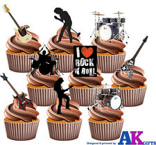 Rock Band Guitarra Tambor Fiesta Pack 36 Comestibles Stand Up Cup Cake Toppers Decoración