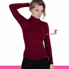 Basic Long Sleeve Soft Seamless Stretch Turtleneck Mock Neck Top Slim Fit Shirts