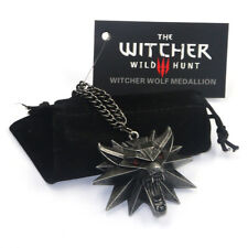 The Witcher 3 Wild Hunt Wolf Head Logo Necklace Red Eyes Pendant With Bag&Card
