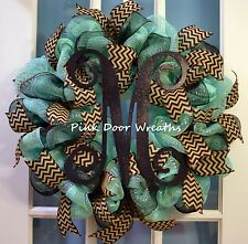 MADE TO ORDER Wreath Vine SCROLL MONOGRAM aquamarine black burlap chevron mesh