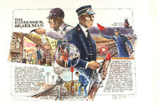 Tex Wilson WORKIN' ON TH' RAILROAD Passenger Brakeman Pen & Ink Hand Painted
