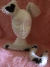 Dalmatian Ears And Tail Heart Ear Spotty Tail Fake Fur Fancy Dress One Size New