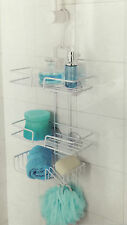 3 TIER NON RUSTIC SHOWER CADDY WHITE BATHROOM CADDY ORGANISER WITH HOOKS