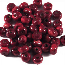 Lot de 100 perles rondes en Bois 6mm Rouge Bordeaux