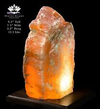 """9.5"""" Red Selenite Crystal Lamp With Walnut Base - RC-916-2 (Exact Lamp)"""