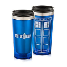 Doctor Who Tardis 16 oz. Mug Stainless Steel Water Bottle Travel Cup Blue Gift