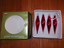 Christmas Ornaments Set Martha Stewart Flute Shaped Glass Yuletide Cheer Red !