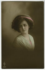 c 1914 Child Children PRETTY YOUNG GIRL tinted photo postcard