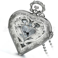 Hollow Heart-shaped Angel Wing Quartz Pocket Watch Pendant  Womens Necklace Gift