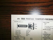 1968 Pontiac Tempest & Firebird 250 L6 4BBL SUN Tune Up Chart Great Condition!